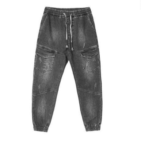 メンズ/ポケット付き/色落ちデニム/ダメージジョガーパンツ