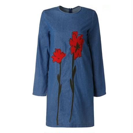 赤大きいお花刺繍クルーネック長袖デニムワンピース
