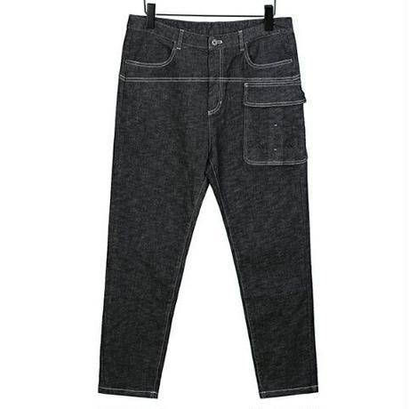 メンズ/サイド大きいポケット/黒デニム/ジーンズ