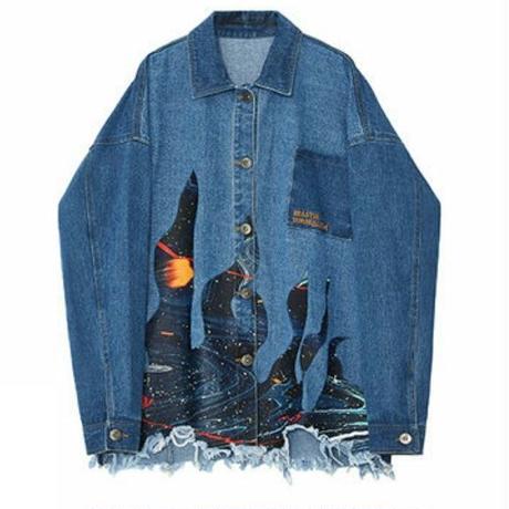 ユニセックス大雑把カットオフ神秘的な絵画風プリント青デニムジャケット