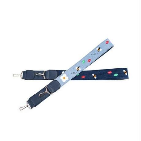 2タイプ青デニム/蜂&葉っぱ刺繍/斜めがけ用カバンストラップ