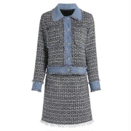 セットアップ/ポイントデニム/ツイードジャケット+スカート