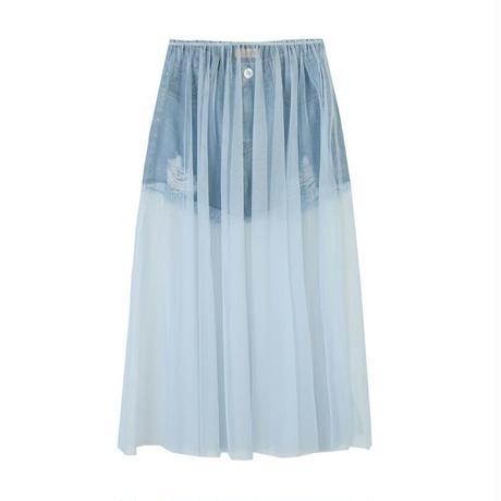 ミニデニムショートパンツ&シースルーチュールロング異素材ミックススカート
