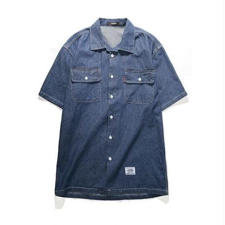 メンズ青デニムポケット付カジュアル半袖シャツトップス