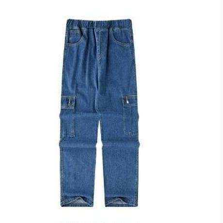メンズ青ポケット青デニムストレートジーンズ