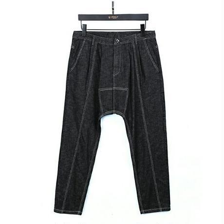 メンズ/センターラインステッチ/黒デニム/サルエルパンツ