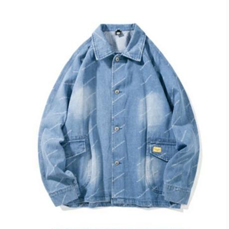 メンズ斜めロゴプリント淡い青デニムシャツ風デニムジャケット