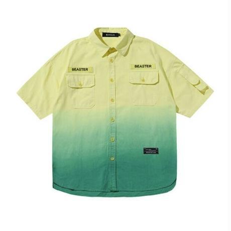 ユニセックスグラデーションバイカラーロゴオーバーサイズデニム半袖シャツ