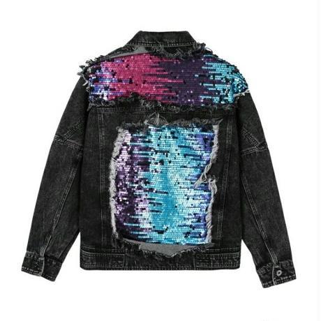 メンズ異素材ミックスバックスパンコール黒デニムジャケット