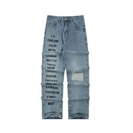 メンズ左右非対称なデザインロゴ&ダメージデニムジーンズ
