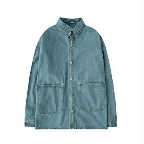 ユニセックスオーバーサイズ2タイプ青デニム大きいポケットシャツ