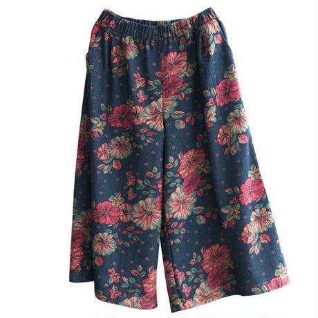 キレイ花柄ワイドスカート風デニムスカーチョ