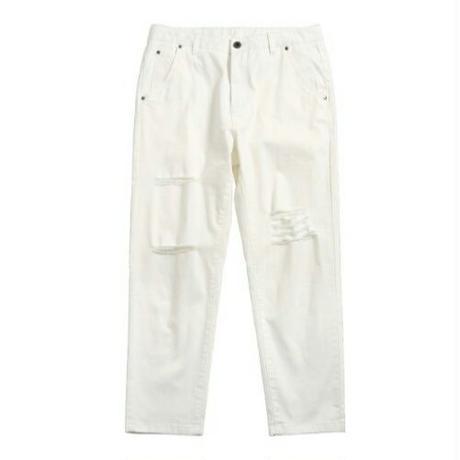 メンズ白アシンメトリーダメージ裾細めジーンズ