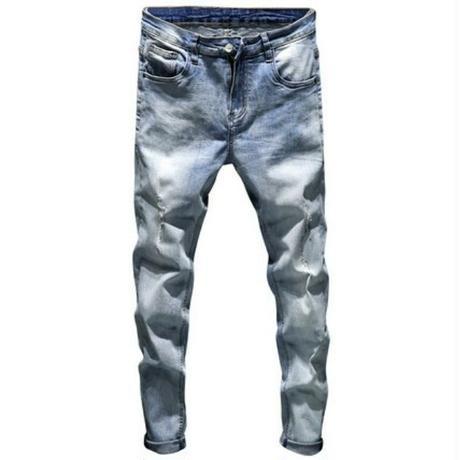メンズ淡いブルー色落ち太ももダメージジーンズ