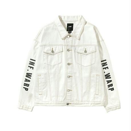 メンズ/袖ロゴ/白/コットンデニムジャケット
