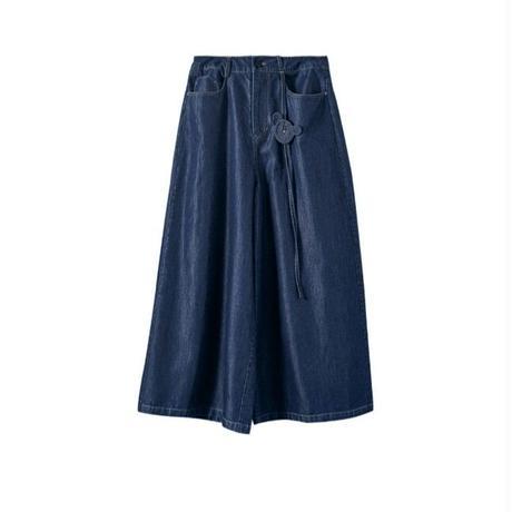 ポイントねずみデニムワイド青スカーチョ