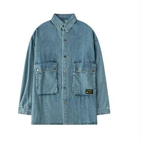 ユニセックス大きいフラップポケット青黒デニムシャツアウター