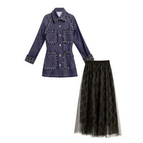 セットアップ/デニム&ツイード/異素材ジャケット+チュールロングスカート