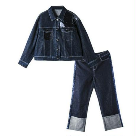 デニムセットアップ/スパンコール/異素材ミックスジージャン+パンツ