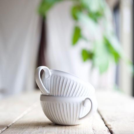 藤山窯 / スープカップ - ミルク - しのぎ