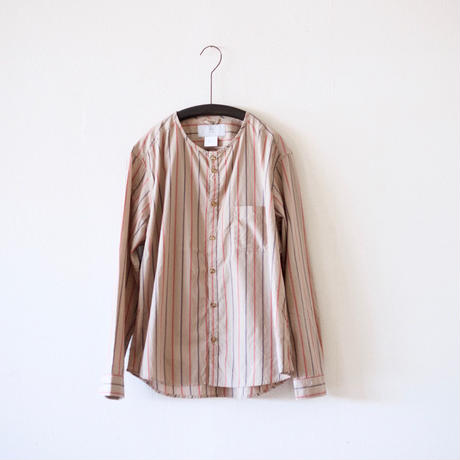 MUYA / Stand collar Nerd shirts - Brown stripe