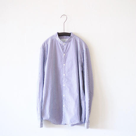 MUYA / Stand collar shirts stripe - White×Blue