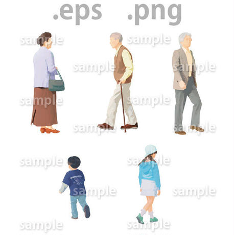 ファミリーイラスト (EPS , PNG )   fa_001