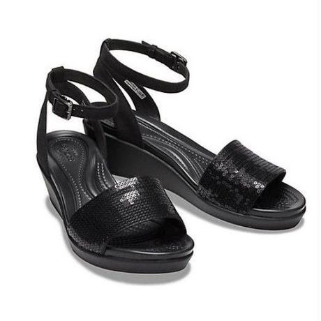 【crocs/サンダル/19FW】crocs/クロックス/レイ アン アンクル シークイン ウェッジ ウィメン(Black / Black) 【206024-060】