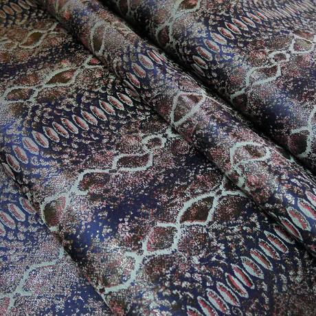 M 西陣織 金襴 絹織物 マスク 紺地 パイソン紋様 A