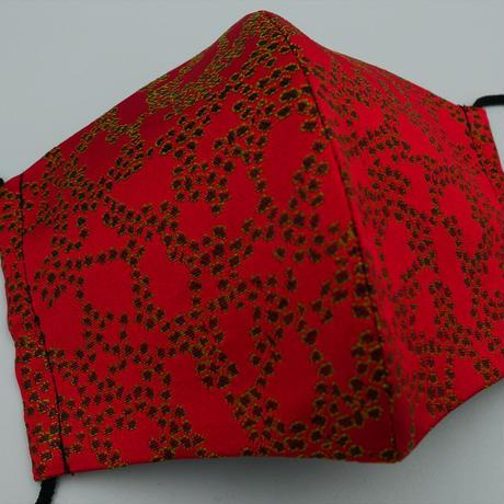 M 西陣織 金襴 絹織物 マスク 赤地 Cell紋様 A