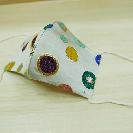 Lサイズ! 西陣織 金襴 絹織物 マスク 水玉紋様