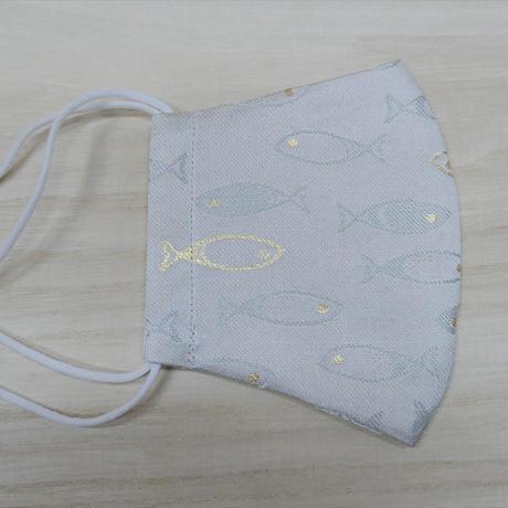 M 西陣織 金襴 絹織物 マスク nya! cat にらみちゃん 桃色
