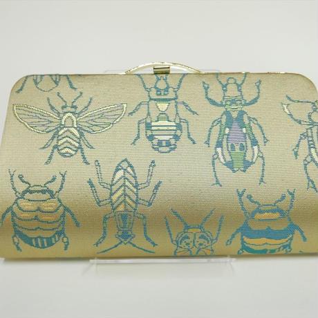 全正絹 西陣織 金襴 Insect 虫紋様 クラッチバッグE