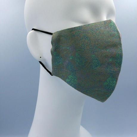 Lサイズ! 西陣織 金襴 絹織物 マスク 葉脈紋様&ストライプ・フラワーのコンビ