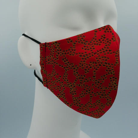 Lサイズ! 西陣織 金襴 絹織物 マスク 赤地 Cell紋様 A