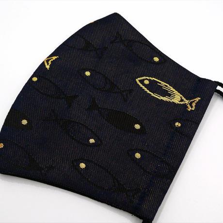 M 西陣織 金襴 絹織物 マスク 夜の魚