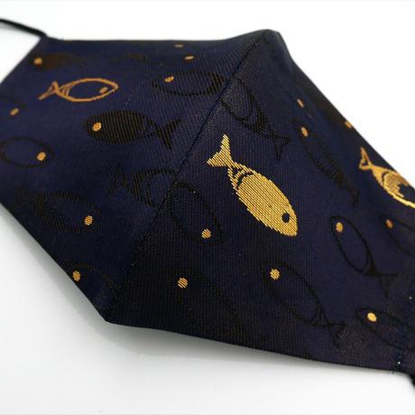 Lサイズ! 西陣織 金襴 絹織物 マスク 紺地 夜の魚