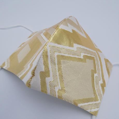M 西陣織 金襴 絹織物 マスク 白地 三階菱紋様 白金 光箔