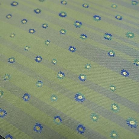 西陣売り 絹織物 こぎれ 白茶地 ストライプ&フラワー紋様  I 青、グリン