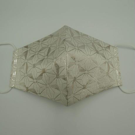 Lサイズ! 西陣織 金襴 絹織物 マスク 白地 銀箔 麻の葉紋様
