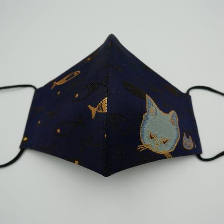 Lサイズ! 西陣織 金襴 絹織物 マスク nya! cat にっこりちゃん 紺地 夜の猫