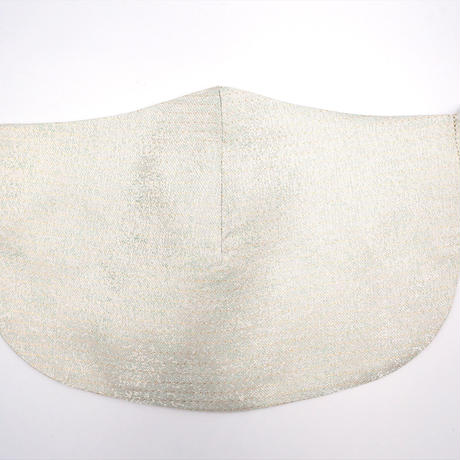 Singing Mask シンギング マスク 歌える西陣織マスク 白地 ピンドット紋様 白金 受注生産方式