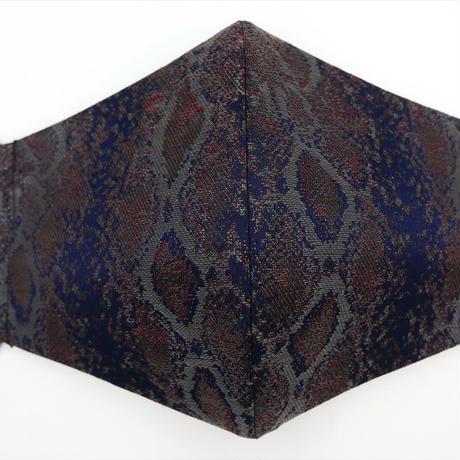Lサイズ! 西陣織 金襴 絹織物 マスク 紺地 パイソン紋様 A