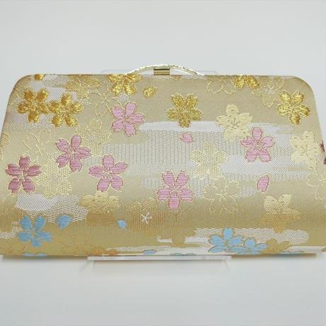 全正絹 西陣織 金襴 さくら紋様 クラッチバッグ A