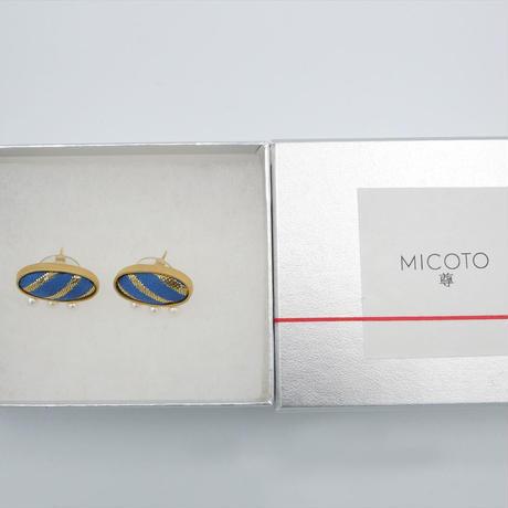 〈尊 MICOTO〉 ピアス11 OVAL 菱つなぎ紋様 青地