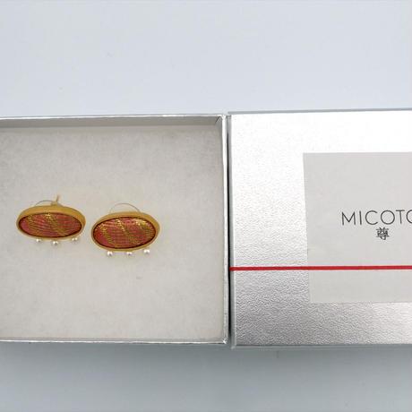 〈尊 MICOTO〉 ピアス12 OVAL 網代紋様 白茶地 桃