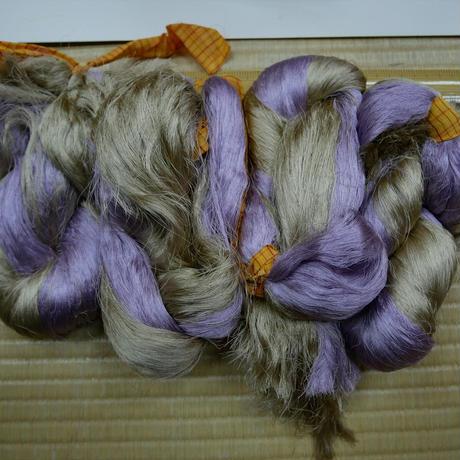 西陣織で使われている 経糸の残糸 紫と白茶の2色混ぜ 着払い発送
