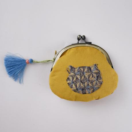 ニシジーナ がまぐち 白茶地 麻の葉紋様 猫と魚 一点もの 109