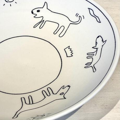 犬絵七寸鉢