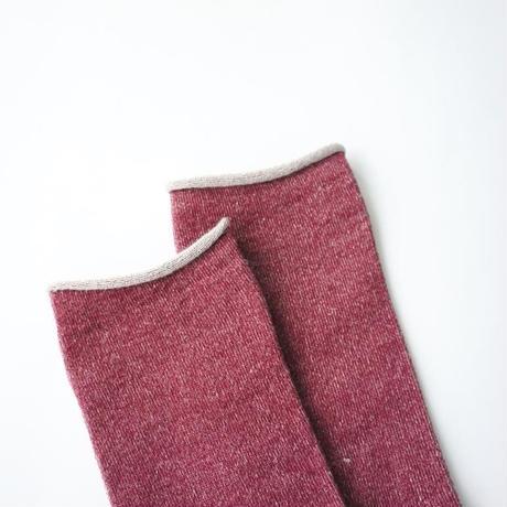 【秋冬の準備に】アルパカシルクのゴムなし靴下(ユニセックス) アズキ_SO006-PU